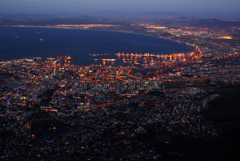 birdview都市风景夜间城镇 图库摄影