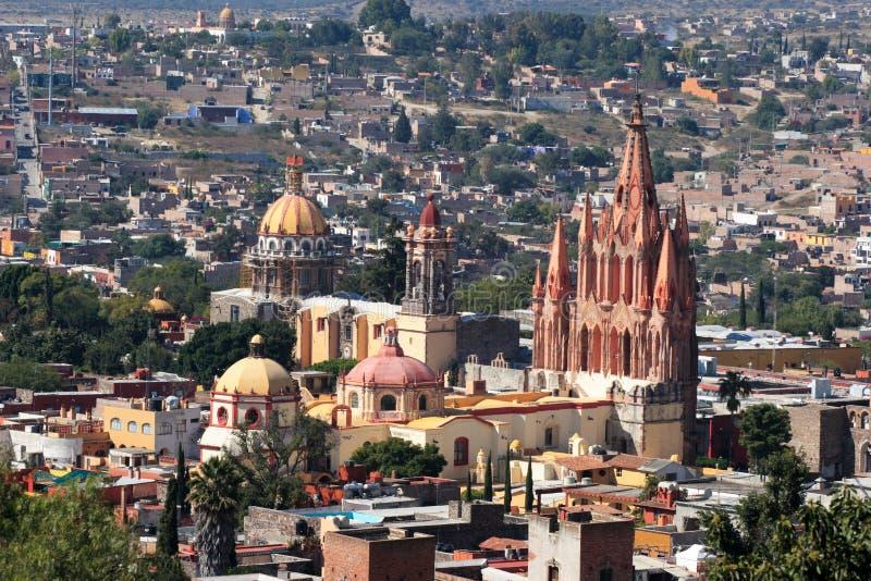 Birdview de San Miguel de Allende, Guanajuato, Mexique photos stock