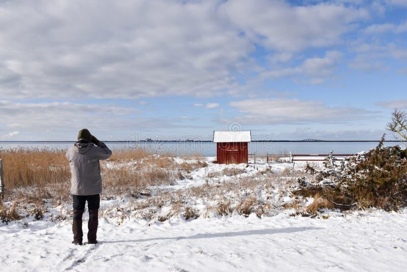 Birdwatcher en un paisaje del invierno imágenes de archivo libres de regalías