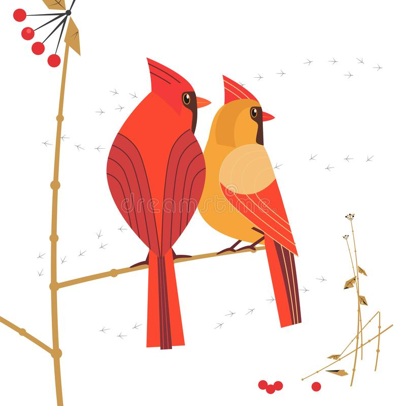 Red cardinal bird icon. Birdwatching icon. Red Northern cardinal couple comic flat cartoon. Winter birds of backyard, city garden. Minimal simple stylized bird vector illustration