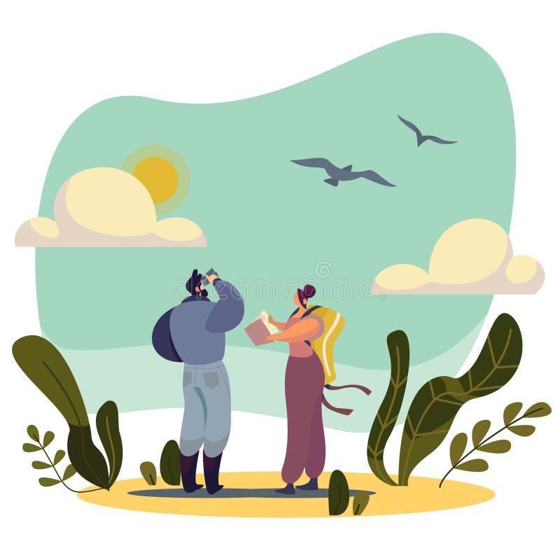 Birdwatching people cartoon character nature vector illustration stock photography