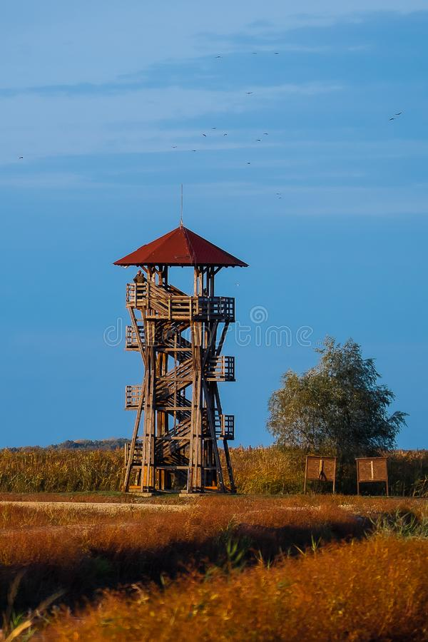 Birdwatching observation tower, Hortobagy National Park. Hungary. Birdwatching tower, Hortobagy National Park. Hungary. The park is Unesco World Heritage Site royalty free stock image