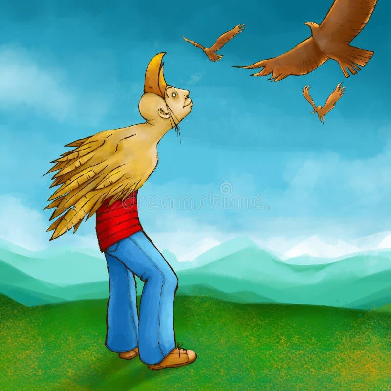 Birdy Hombre con alas que sueña sobre el vuelo imágenes de archivo libres de regalías