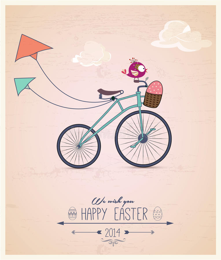 Birdy riding bike Easter greeting card stock illustration