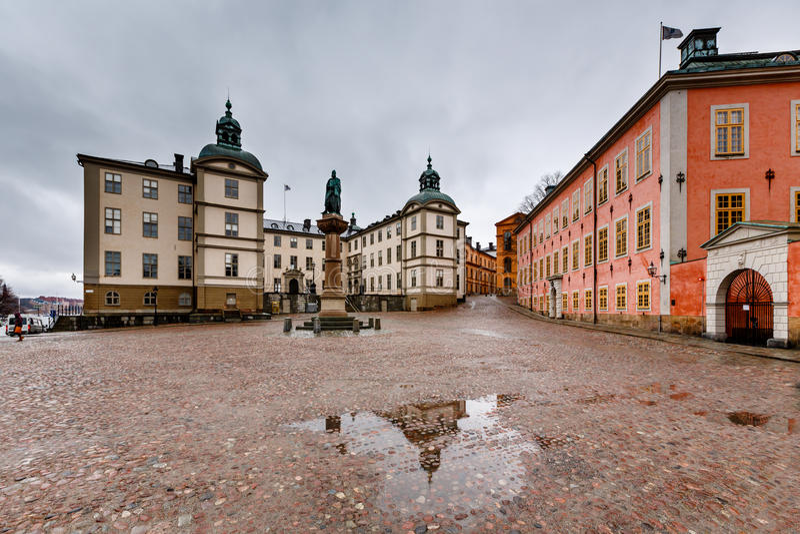 Birger Jarls Square en Riddarholmen (parte de Gamla Stan) fotografía de archivo libre de regalías
