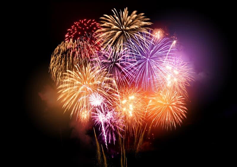 Birght e fogos-de-artifício coloridos foto de stock royalty free