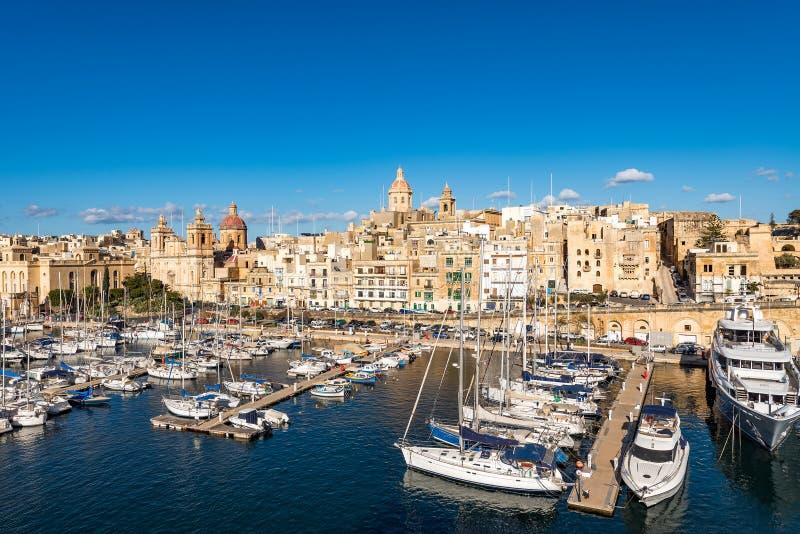 Birgu-Jachthafen, Malta lizenzfreie stockfotografie