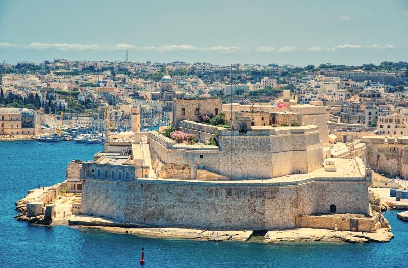 Birgu, Kalkara wyspy i fortu święty Angelo, Valletta, Malta fotografia royalty free