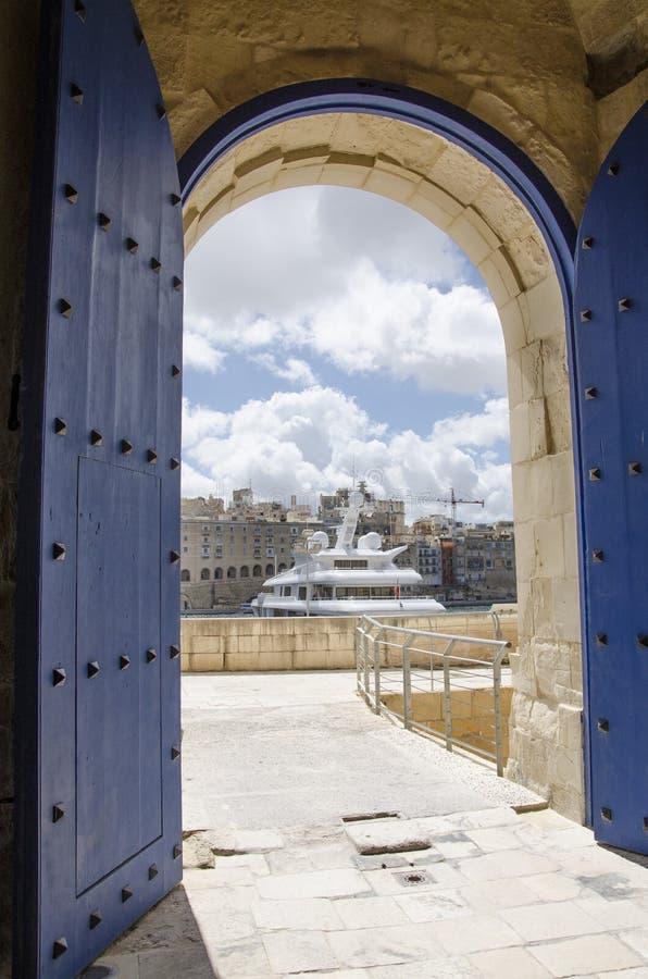 View through the open door of St. Angelo fort on Malta stock image