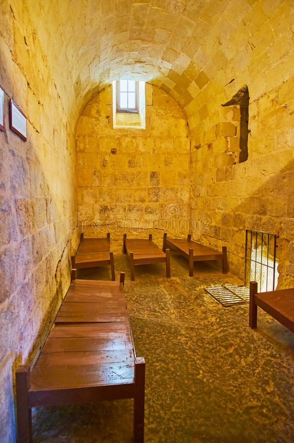 The prison cell of Inquisitor`s Palace, Birgu, Malta stock photo