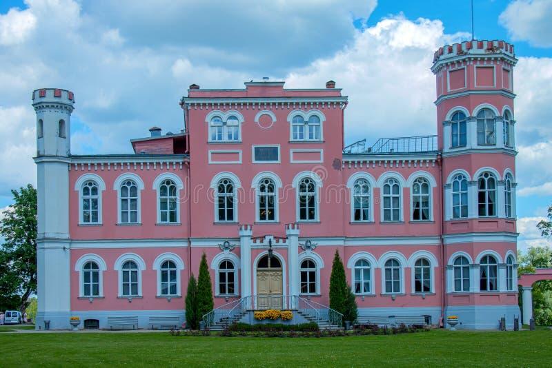 Birini Castle. Latvia. Hill near the lake rises Birini Castle stock photo