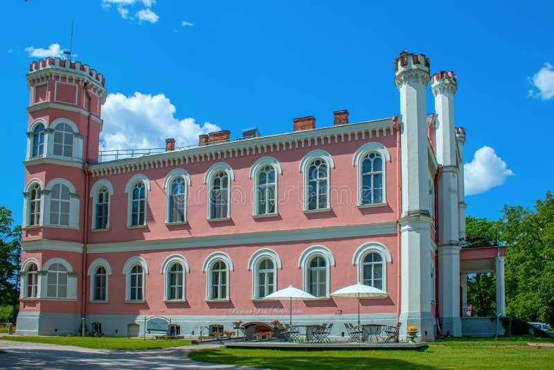 Birini Castle. Latvia. Hill near the lake rises Birini Castle royalty free stock photo