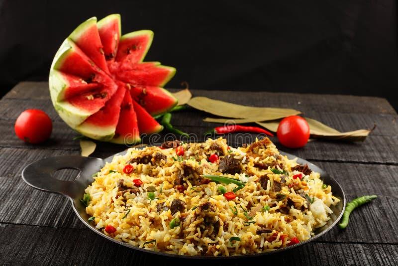 Biriyani caseiro delicioso do dum da carne de carneiro ou do cordeiro imagens de stock royalty free