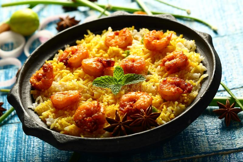 Biriyani delizioso casalingo dei frutti di mare, biryani, cucina indiana immagine stock