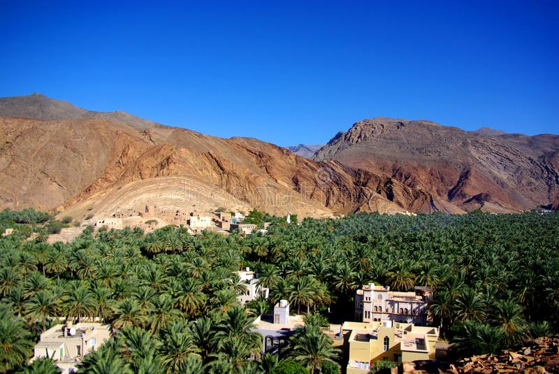 Birkat Al Mawz View. View of the stunning Birkat Al Mawz, featuring an oasis of date palms and ancient buildings beneath intimidating desert mountains (Oman royalty free stock photo