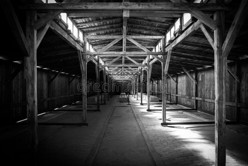 Birkenau, camp d'extermination Caserne, à l'intérieur La Pologne, 27 03 2017 images stock