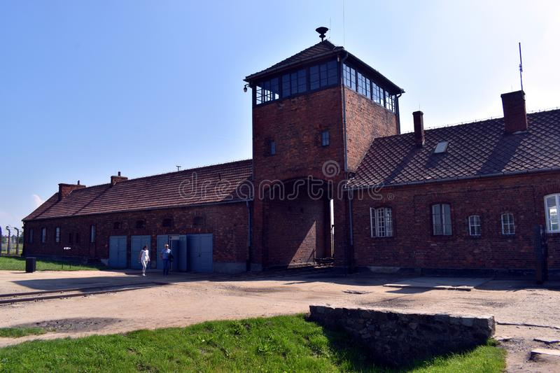 A view just inside the main entrance gate of Birkenau Concentration Camp. Birkenau/Poland-June 3, 2019: A view just inside the main entrance gate of Birkenau royalty free stock photography