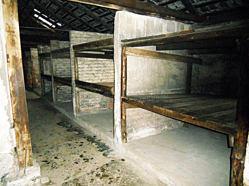 Birkenau rooms. The beds of the jewish nazist concentrantion camp of birkenau in poland stock image
