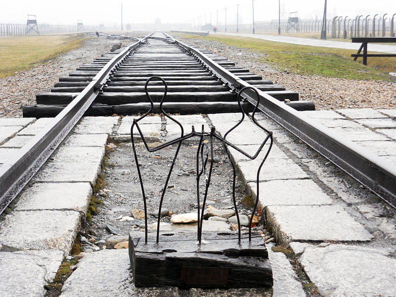 Birkenau track. A modern monument to the holocaust at birkenau nazist camp in poland royalty free stock images
