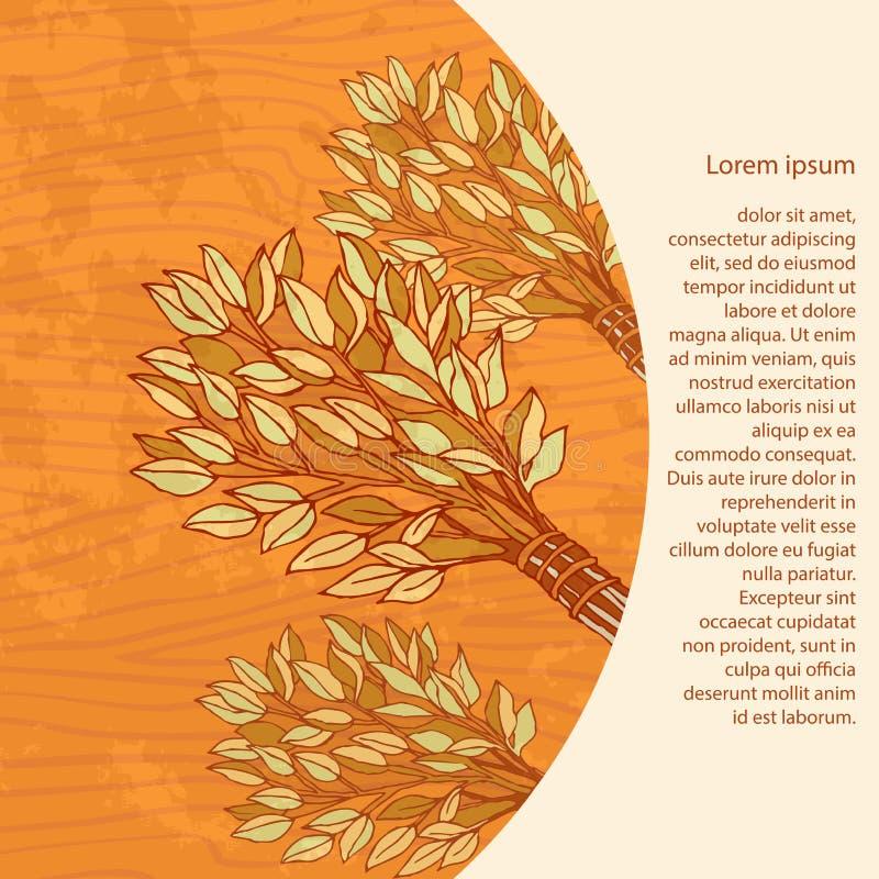 Birkenbesen für das Bad auf einem hölzernen Hintergrund Entwerfen Sie Schablonenfahnen, Karten, Karten für Sauna, Bad Platz für t lizenzfreie abbildung