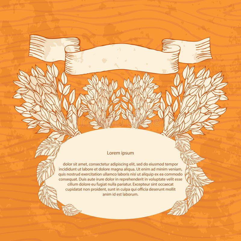Birkenbesen für das Bad auf einem hölzernen Hintergrund Entwerfen Sie Schablonenfahnen, Karten, Karten für Sauna, Bad Platz für t vektor abbildung