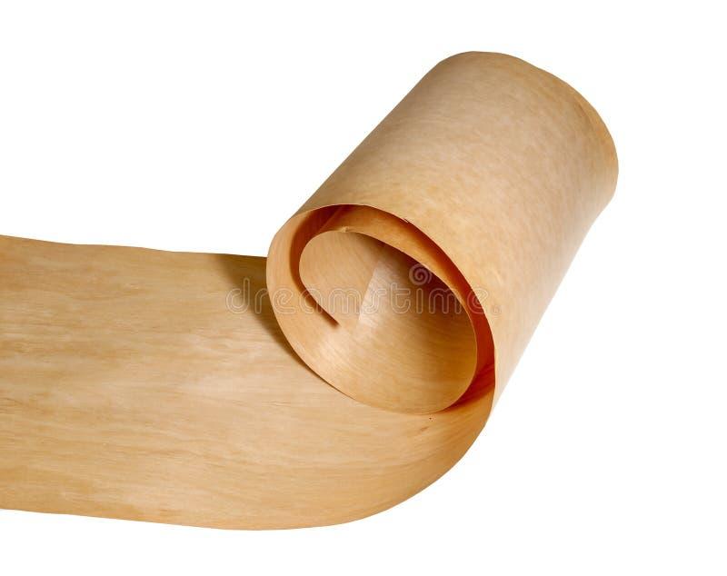 Birkenfurnierholz auf einer Rolle stockfoto