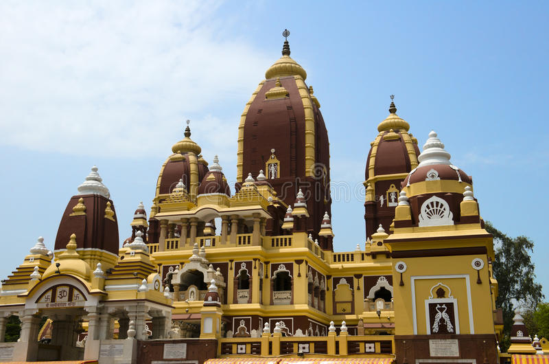 Birla Mandir hinduisk tempel, New Delhi, lopp till Indien arkivbild