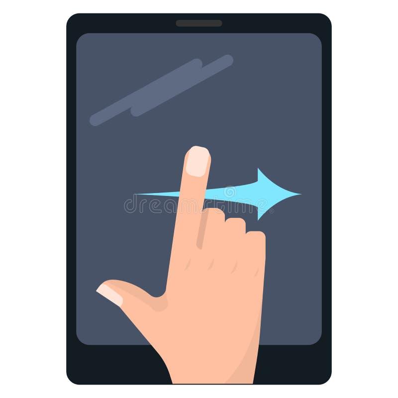 Birle los gestos correctos de la pantalla táctil en el ejemplo del vector de la tableta stock de ilustración