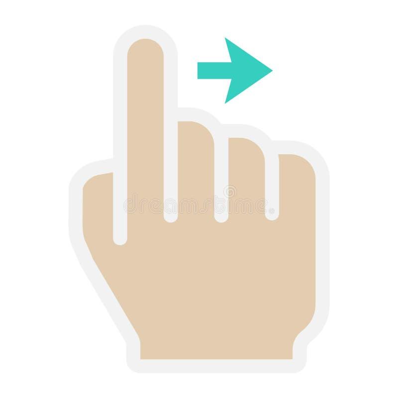 Birle los gestos planos correctos del icono, del tacto y de mano libre illustration