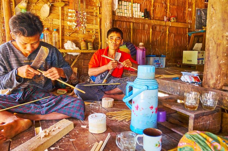 Birmańscy rolnicy, Chaung Tha, Myanmar obraz stock