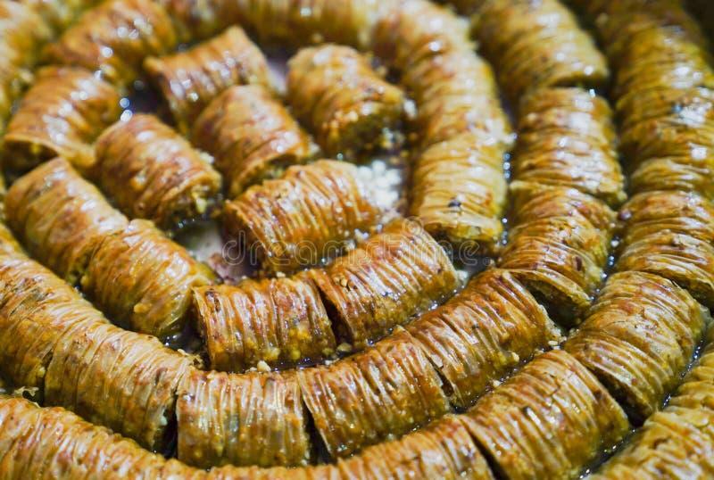 Birma Baklava deser w tacy deseru festiwal szczególnie robi ramadan tradycyjnemu turkish obraz stock