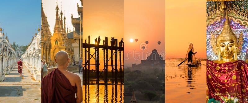 Birma Myanmar, panoramische Fotocollage, birmanische Symbole, Birma-Reise, Tourismuskonzept lizenzfreies stockbild