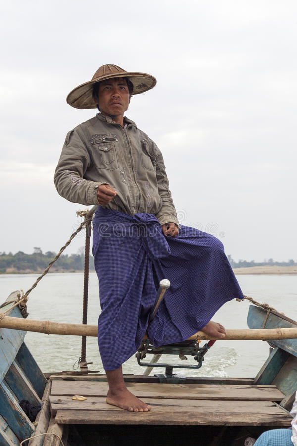 Birmaanse Boatman stock afbeelding