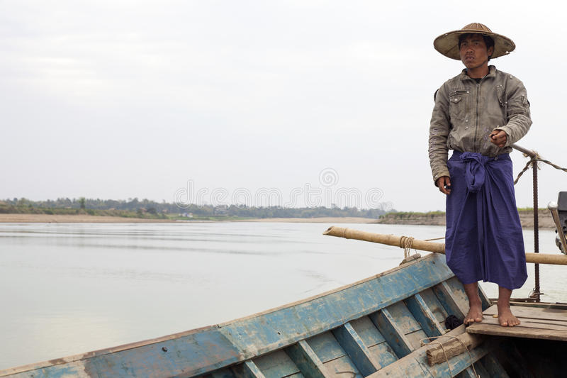 Birmaanse Boatman stock foto