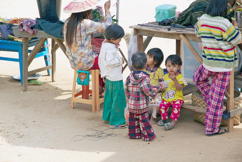 Birmaanse kinderen Myanmar royalty-vrije stock foto