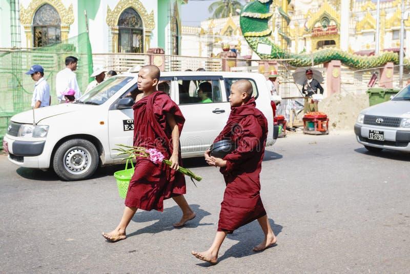 Birmaanse monniken die op de straat van Yangon lopen stock afbeelding