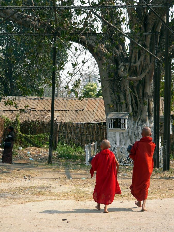 Birmania. Caminata de los monjes al templo foto de archivo libre de regalías
