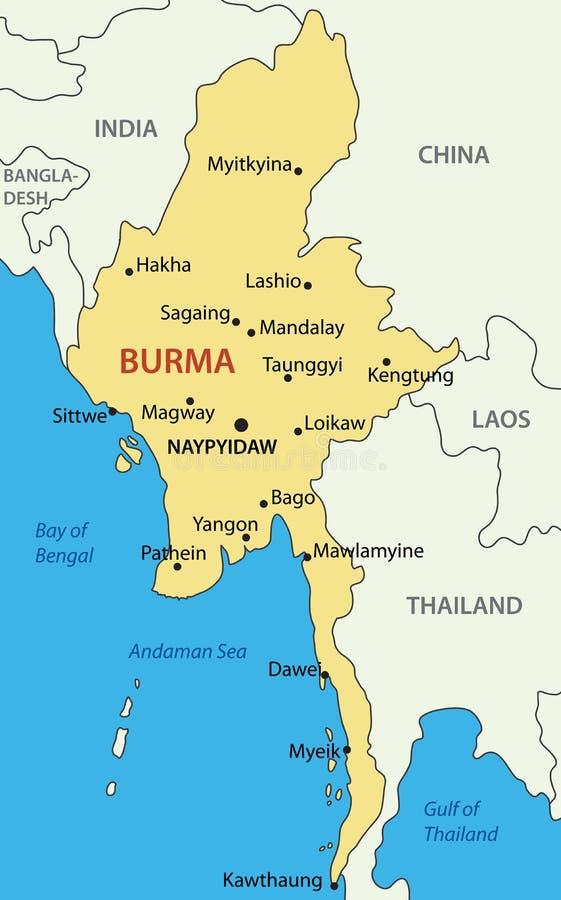 Birmania - mapa del país ilustración del vector