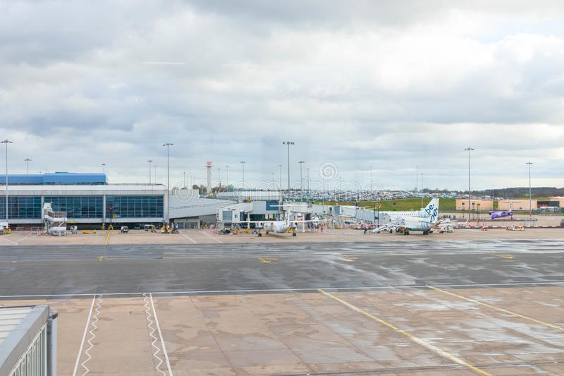 Birmingham/ UK - 03.03.19 : Birmingham Airport tarmac gates airplane royalty free stock photo