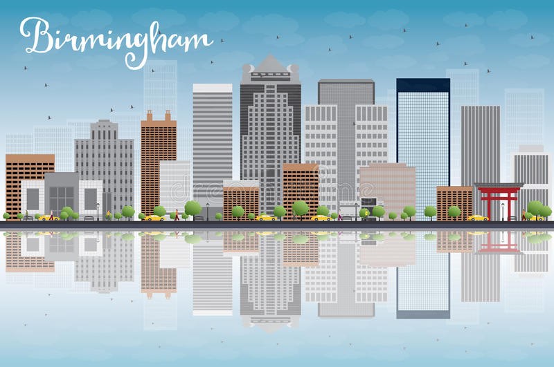 Birmingham (Alabama) Skyline with Grey Buildings, Blue Sky and r. Eflection. Vector Illustration vector illustration