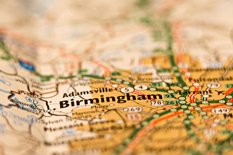 Birmingham Alabama terenu mapa zdjęcia stock