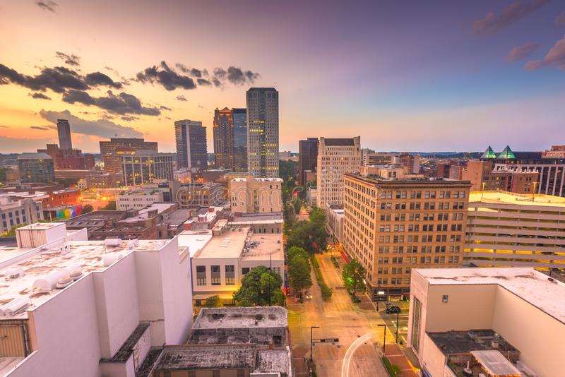 Birmingham, Alabama, USA downtown city skyline. At dusk stock photography