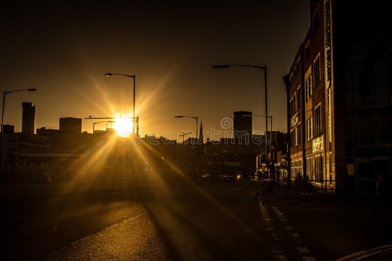 Birmingham bij Zonsondergang van Digbeth royalty-vrije stock afbeeldingen