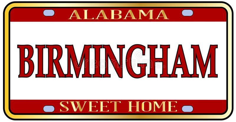 Birmingham City Alabama State License Plate. Birmingham Alabama state license plate in the colors of the state flag with the state name over a white background vector illustration