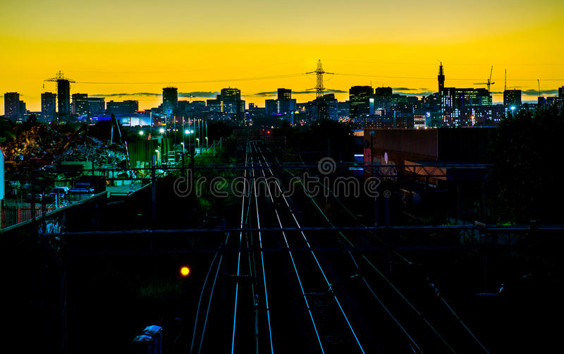Birmingham City Skyline. Birmingham City (England) skyline as a partial silhouette at dusk, not long after sunset stock image