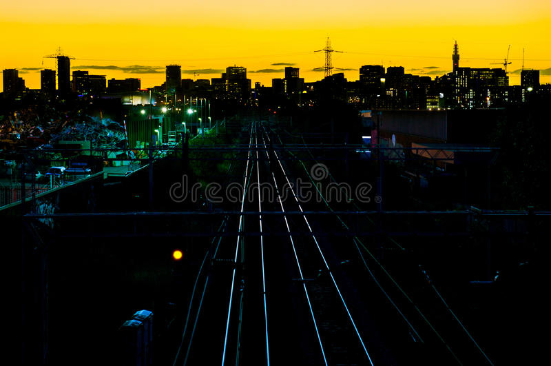 Birmingham City Skyline. Birmingham City (England) skyline as a partial silhouette at dusk, not long after sunset royalty free stock image