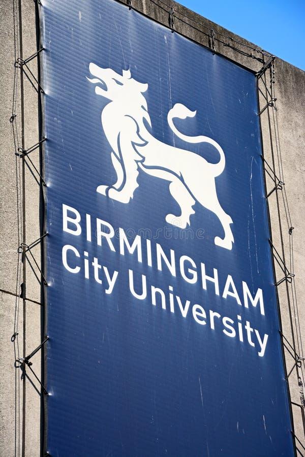 Birmingham City University sign. stock photo