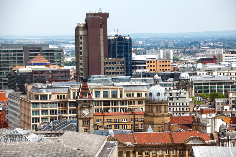 Birmingham England skyline. New and old buildings of Birmingham city, England skyline royalty free stock images