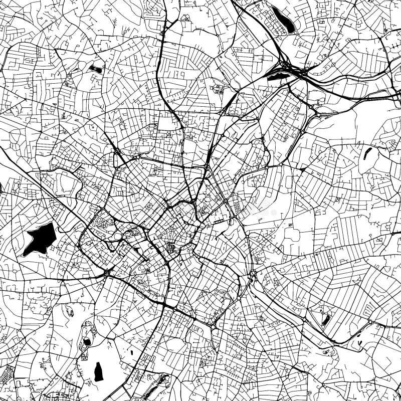 Birmingham, Großbritannien, im Stadtzentrum gelegene Vektor-Karte stock abbildung