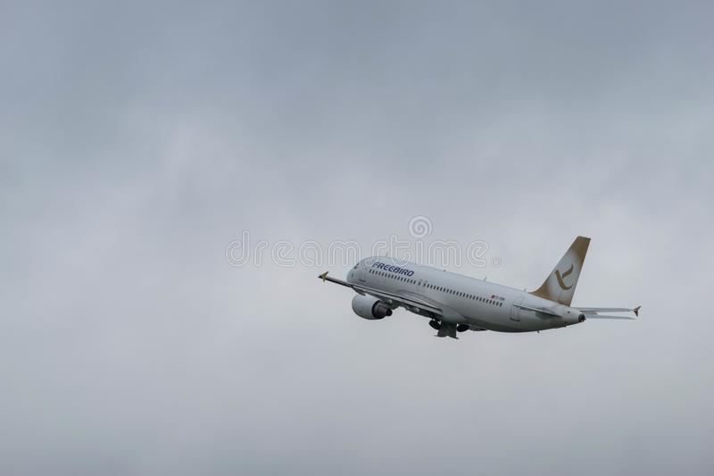 BIRMINGHAM INTERNATIONAL AIRPORT, BIRMINGHAM, UNITED KINGDOM - OCTOBER 28, 2017: a FreeBird Airlines aeroplane taking stock images